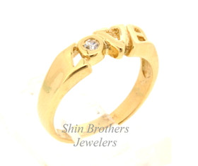 14k Yellow Gold Cz Love Ring 12002307