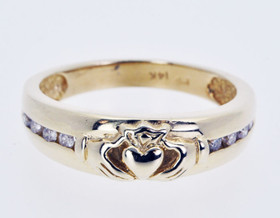 11001442 14K Yellow Gold Claddagh Ring With Diamonds