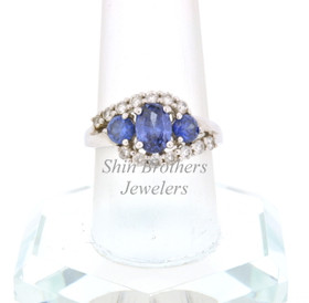 Silver Synthetic Tanzanite CZ Ring