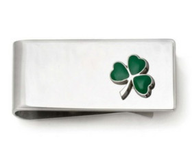 Sterling Silver Money Clip with Shamrock    89910068