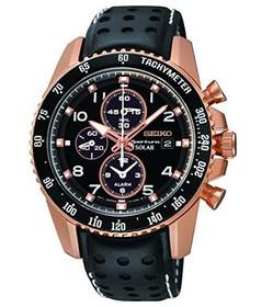 Seiko Sportura Solar Chronograph Black Dial Black Leather Strap Mens Watch SSC274