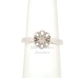 18k White Gold Lotus Flower Diamond Setting