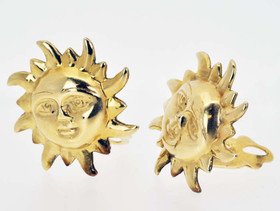 14K Yellow Gold Sun Clip-On Non Ear Pierced Sun Earrings 40000701 By Shin Brothers Jewelers Inc