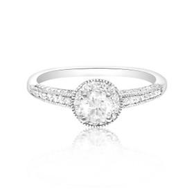 14K White Gold EGL Certified Diamond Engagement Ring