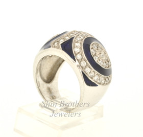 Fancy Silver Blue Accented Cubic Zirconia Ring