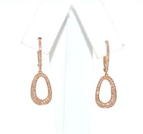 14K Pink Gold Diamond Hanging Fancy Earrings 41002038