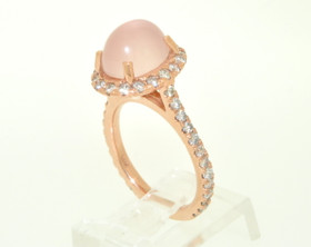 14K Pink Gold Diamond and Rose Quartz Ring