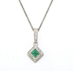 14K White Gold Emerald/Diamond Square Pendant 52001714