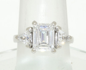 14K White Gold 3-stone CZ Engagement Ring 12001048