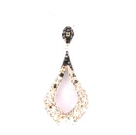 "14K White Gold 18"" Necklace w/ Multicolored Diamond Charm 31000600"