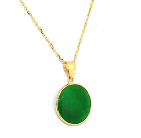 14K Yellow Gold Green Jade Circular Pendant