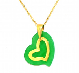 14K Yellow Gold Jade Heart Charm 52001748