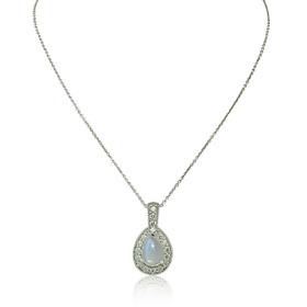 14K White Gold Diamond Moon Stone Pendant