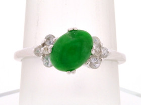 10K White Gold Jade and White Sapphire Ring  19000206