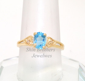 10K Yellow Gold Diamond Blue Topaz Ring
