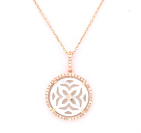 "18K Pink Gold Diamond Mother Of Pearl 18"" Necklace 32000451"