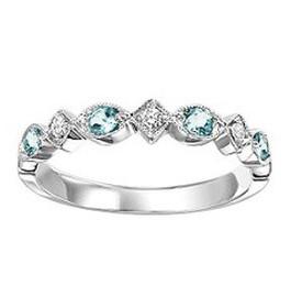 14K White Gold Blue Topaz & Diamond Stackable Ring 12002449
