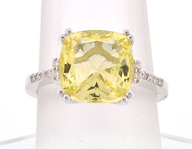 14K White Gold Diamond Citrine Ring 120024638