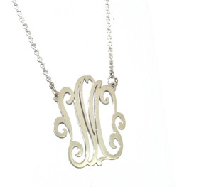 Sterling Silver M Initial Necklace   85010222