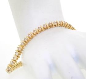 14K Yellow Gold Diamond Tennis Bracelet 21000503