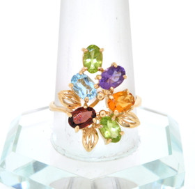 14K Yellow Gold Multi-Color Gemstone Ring