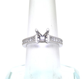 14K White Gold Round and Princess Cut Diamond Engagement Ring Halo Setting