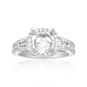 14K White Gold Round and Baguette Diamond Engagement Ring Halo Setting