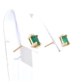 14K Yellow Gold Emerald Studs  42002602