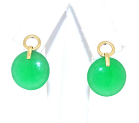 14K Yellow Gold Green Circle Jade Hanging Earrings 42002593