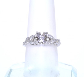 14K White Gold Diamond Leaf Engagement Ring Setting