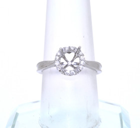 14K White Gold 0.22 ct Diamond and 4 Prong Engagement Ring Setting