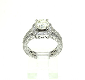 14K White Gold Halo Set Diamond Engagement Ring