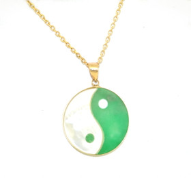 14K Yellow Gold Yin Yang Jade/Mother of Pearl Pendant 52001749