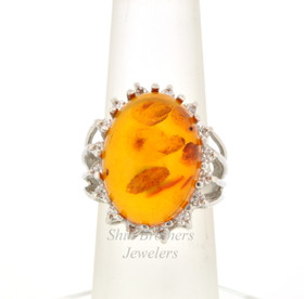 14K White Gold Amber & Diamond Ring  12002418