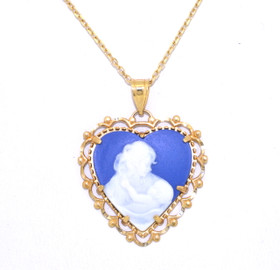 10K Yellow Gold Blue Cameo Heart Mother Daughter Charm 59000191