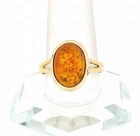 14K Yellow Gold Amber Ring 12002409