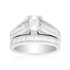 14K White Gold Emerald/Princess Cut Diamond Engagement Ring Set