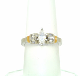 18K White/Yellow Gold EGL Certified Marquise/Baguette Cut Diamond Engagement Ring