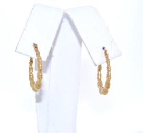 14K Yellow Gold Bamboo Hoop Earrings 40002187