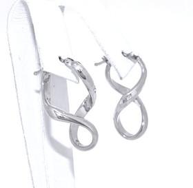 14K White Gold Twisted Hoop Earrings 40002159