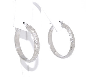 14K White Gold D/C Hoop Earrings 40002153-E