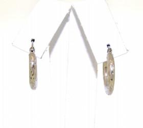 14K White Gold D/C Hoop Earrings 40002154