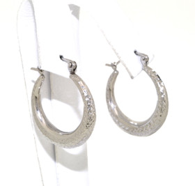 14K White Gold D/C Hoop Earrings 40002156