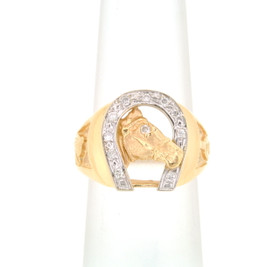 14K Yellow Gold Diamond Horseshoe Men's Ring 11005160
