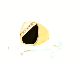 14K Yellow Gold Diamond and Onyx Ring 12002468