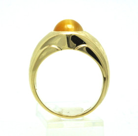 14K Yellow Gold Men's Bazel Set Tiger Eye Ring 12002465