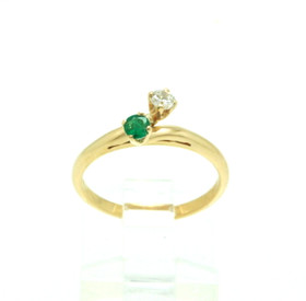 14K White Gold Emerald and Diamond Ring 12002472