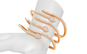 18K Pink Gold Diamond Snake Bangle  23000149
