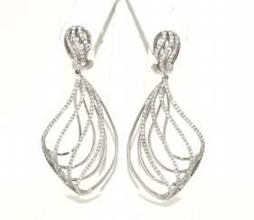 18K White Gold Diamond Fancy Drop Earrings  41002064