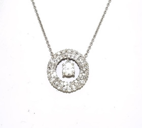 "14K White Gold Diamond Circle Pendant With 16"" Link Chain 31000642"